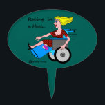"""Wheelchair Girl in Heel Amputee time to Party! Cake Topper<br><div class=""""desc"""">Party on and keep on rolling. Let this cake topper say it all. For people with disabilities who want the freedom of expression to just &quot;be&quot; and not be labeled to inform, educate or feel forced to inspire here comes this blonde glamor girl in a wheelchair saying &quot;I just want...</div>"""
