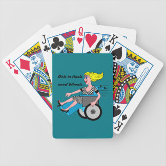 Wheelchair Girl in Heels Bicycle Playing Cards