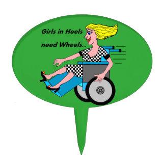 Wheelchair Girl in Heels Cake Topper