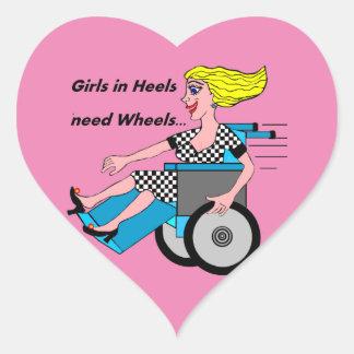 Wheelchair Girl in Heels Heart Sticker