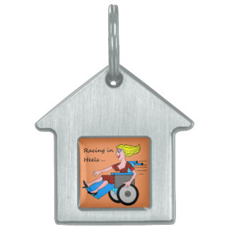 Wheelchair Girl in Heels Pet Name Tag