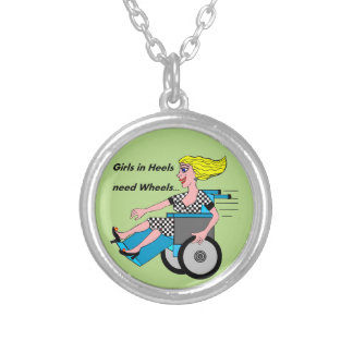 Wheelchair Girl in Heels Silver Plated Necklace
