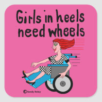 Wheelchair Girl in Heels Square Sticker