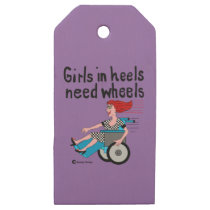 Wheelchair Girl in Heels Wooden Gift Tags