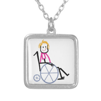 Wheelchair Kid Silver Plated Necklace