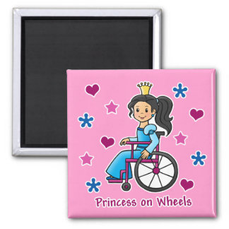 Wheelchair Princess 2 Inch Square Magnet