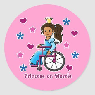 Wheelchair Princess Stickers