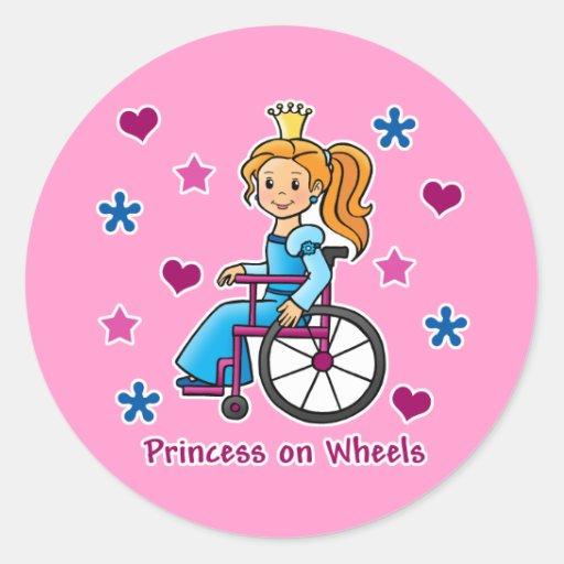Wheelchair Princess Round Stickers