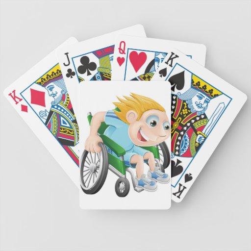 Wheelchair racing cartoon man bicycle playing cards