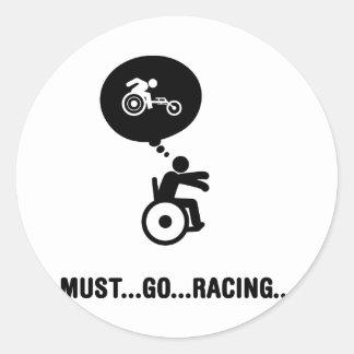 Wheelchair Racing Classic Round Sticker