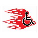 Wheelchair rocket flames postcards