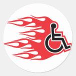 Wheelchair rocket flames round sticker
