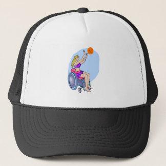 Wheelchair shot basketball trucker hat