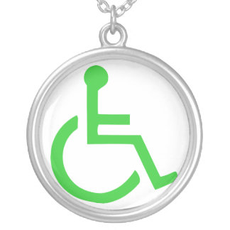 Wheelchair Symbol Silver Plated Necklace