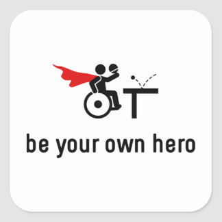 Wheelchair Table Tennis Hero Square Sticker