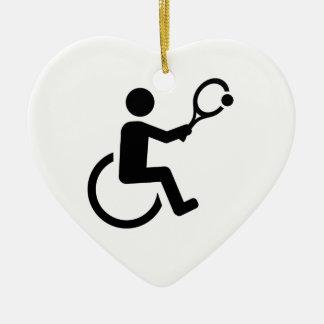 Wheelchair tennis ceramic ornament