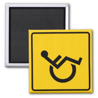 Wheelchair Traffic Highway Sign 2 Inch Square Magnet