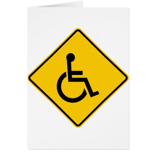 Wheelchair Traffic Highway Sign Card