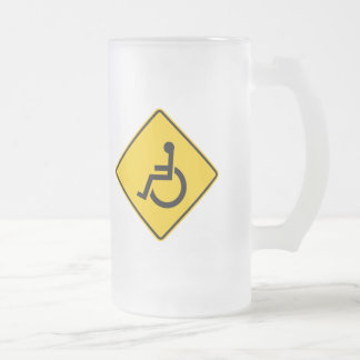 Wheelchair Traffic Highway Sign Frosted Glass Beer Mug