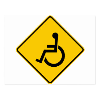 Wheelchair Traffic Highway Sign Postcard