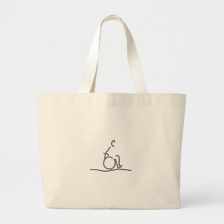 Wheelchair user wheelchair obstructs large tote bag