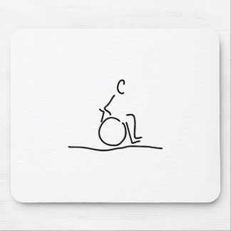 Wheelchair user wheelchair obstructs mouse pad