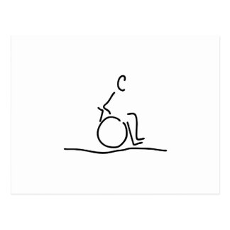 Wheelchair user wheelchair obstructs postcard