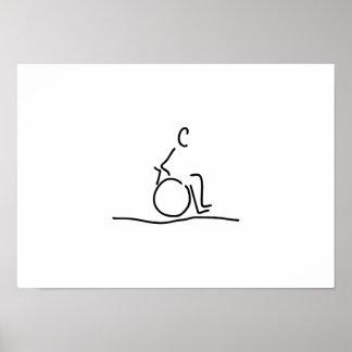 Wheelchair user wheelchair obstructs poster