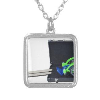 WheelchairRampInBriefcase062115 Silver Plated Necklace