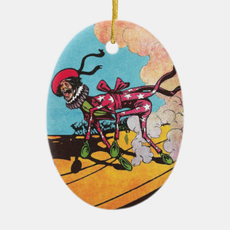 Wheeler on Sand Vintage Oz Double-Sided Oval Ceramic Christmas Ornament