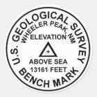Wheeler Peak USGS Style Benchmark Classic Round Sticker