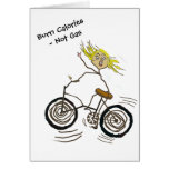 Wheeley the Happy Bicycler Burns Calories Not Gas Greeting Card