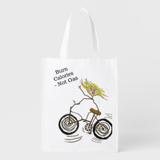 Wheeley the Happy Bicycler Burns Calories Not Gas Grocery Bags