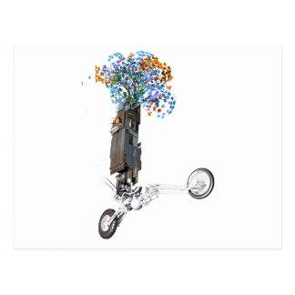 Wheelie de la casa en el árbol del flower power tarjetas postales