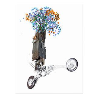 Wheelie de la casa en el árbol del flower power tarjeta postal