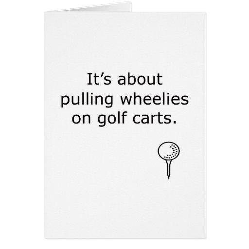 Wheelies On Golf Carts Golf Design Greeting Cards