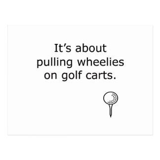 Wheelies On Golf Carts Golf Design Postcard