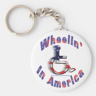 Wheelin' In America Basic Round Button Keychain