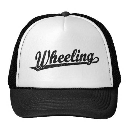 Wheeling script logo in black distressed mesh hats