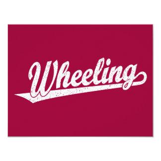 Wheeling script logo in white distressed card