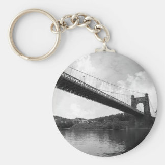 Wheeling Suspension Bridge B&W Keychain