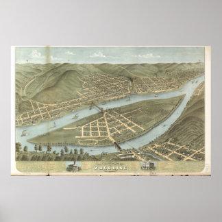 Wheeling W. Virginia 1870 Antique Panoramic Map Poster