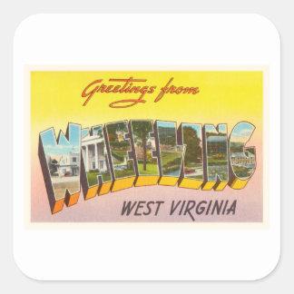 Wheeling West Virginia WV Vintage Travel Postcard- Square Sticker