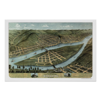 Wheeling, WV Panoramic Map - 1870 Poster