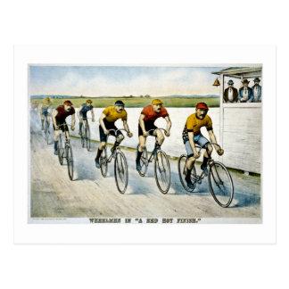 "Wheelmen en un ""final candente. "" tarjeta postal"