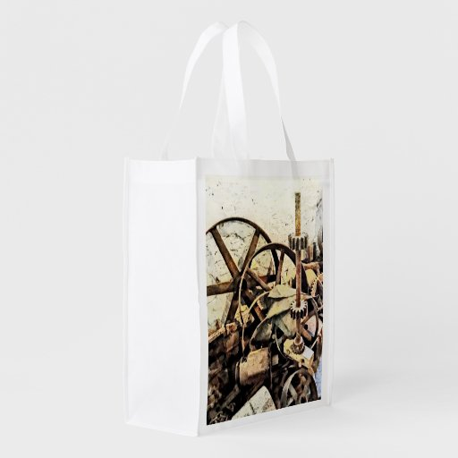 Wheels and Gears in Grist Mill Reusable Grocery Bags