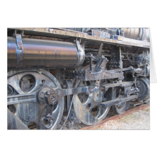 Wheels of a Majestic Iron Horse Railroad Engine Greeting Card
