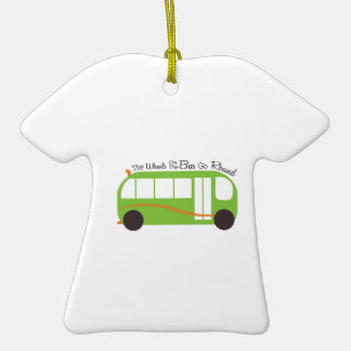 Wheels On Bus Double-Sided T-Shirt Ceramic Christmas Ornament