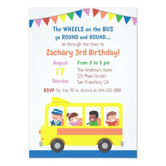 wheels on the bus school bus kids birthday party invitation zazzle com