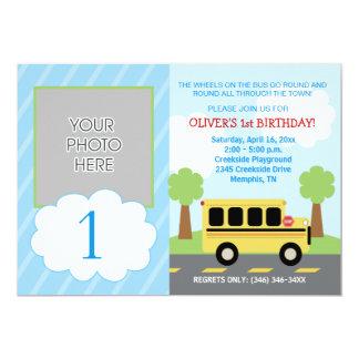 Wheels on the Bus Transportation Photo Birthday 5x7 Paper Invitation Card